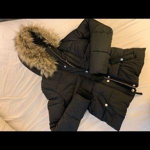 Puffy black fur trimmed coat